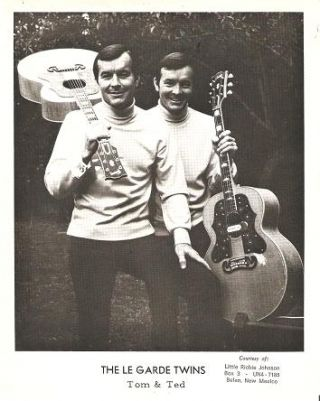 PROFESSIONAL PHOTOGRAPH OF THE LE GARDE TWINS WITH THEIR GUITARS. Tom and Ted LeGarde