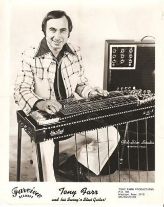 PROFESSIONAL PHOTOGRAPH OF TONY FARR AND HIS SWING'N STEEL GUITAR. Tony Farr