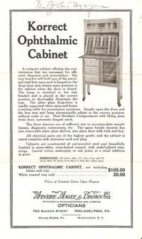KORRECT OPTHALMIC CABINET [broadside]:; Wholesale, Manufacturing and Jobbing Opticians. Magee and Brown McIntire.