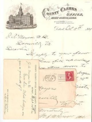 AUTOGRAPH LETTER SIGNED (ALS) ON LETTERHEAD OF THE COUNTY CLERK'S OFFICE, WAYNE COUNTY, MICHIGAN:...