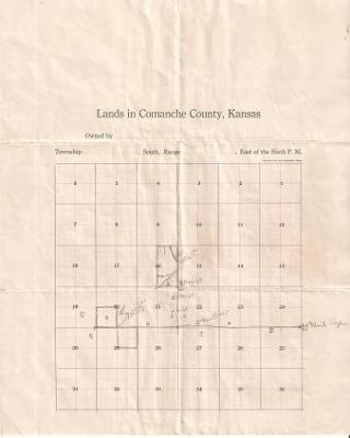 LANDS IN COMANCHE COUNTY, KANSAS:; Grid of 36 tracts, three marked as settled. Comanche County Kansas.