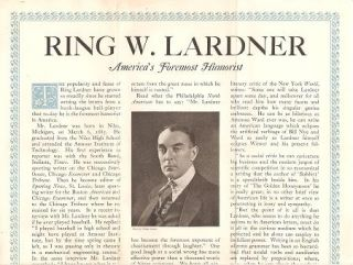 RING W. LARDNER, AMERICA'S FOREMOST HUMORIST...It Is to Laugh! There is one on every page of...