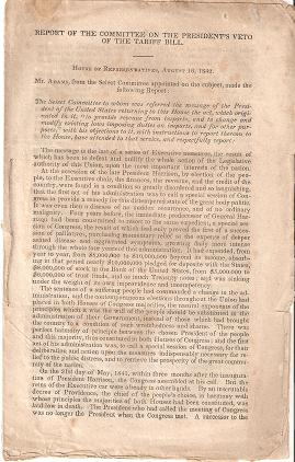 REPORT OF THE COMMITTEE ON THE PRESIDENT'S VETO OF THE TARIFF BILL:; House of Representatives, August 16, 1842. John Quincy Adams.