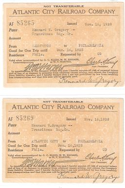 TWO (2) FREE PASSES ISSUED TO A TRANSITMAN FOR THE READING RAILROAD, BY THE ATLANTIC CITY RAILROAD COMPANY IN 1928. Atlantic City Railroad.