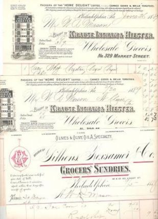 GROUP OF THREE (3) RECEIPTS FOR VARIOUS FOODS PURCHASED BY W.R. MASON FROM TWO PHILADELPHIA FIRMS, 1888-1889. Philadelphia Grocers Pennsylvania.