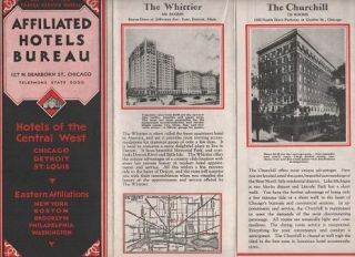 HOTELS OF THE CENTRAL WEST: CHICAGO, DETROIT, ST. LOUIS. Illinois - Michigan - Missouri