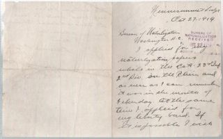 AUTOGRAPH LETTER SIGNED (ALS) FROM THIS IMMIGRANT, A U.S. ARMY VETERAN OF WORLD WAR I, TO THE BUREAU OF NATURALIZATION:; From Winnisimmet Lodge, Oct. 27, 1919. Edward E. Crebere.