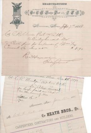 1883-1890 GROUP OF THREE (3) HANDWRITTEN RECEIPTS TO COL. C.R. MUDGE, POST 114, G.A.R., ...