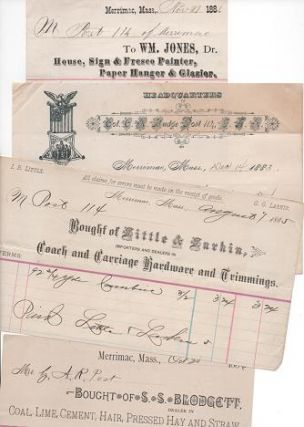 GROUP OF TEN (10) RECEIPTS ON VARIOUS BILLHEADS, WRITTEN AT MERRIMAC, MASSACHUSETTS, 1883-1910....