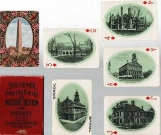 SOUVENIR PLAYING CARDS OF HISTORIC BOSTON AND VICINITY. Boston Massachusetts