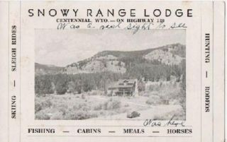 PICTORIAL TRADE CARD FOR SNOWY RANGE LODGE, CENTENNIAL, WYO. -- ON HIGHWAY 130: Skiing, Sleigh...