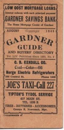 GARDNER GUIDE AND BUYERS' DIRECTORY, Volume LIV, No. 8, August 1949. Gardner Massachusetts
