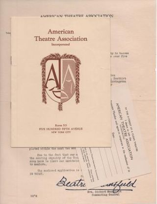 GROUP OF THREE (3) ITEMS RELATED TO THE FOUNDING OF THE AMERICAN THEATRE ASSOCIATION IN 1925. American Theatre Association.