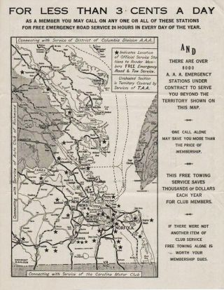 TIDEWATER AUTOMOBILE ASSOCIATION: The Map and Information In This Folder is of Interest to You....
