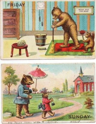 "TWO (2) TEDDY BEARS POSTCARDS, TITLED ""FRIDAY"" AND ""SUNDAY"" William S. Heal."