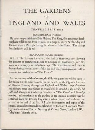 THE GARDENS OF ENGLAND AND WALES: General List 1932. England