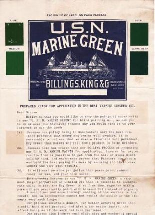 U.S.N. MARINE GREEN:; Prepared Ready for Application in the Best Varnish Linseed Oil. King Billings, Company.