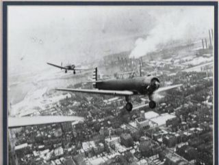 "photograph] TRIBUTE TO THE WRIGHT BROTHERS OVER BOSTON, 1937:; ""This photograph was printed from..."