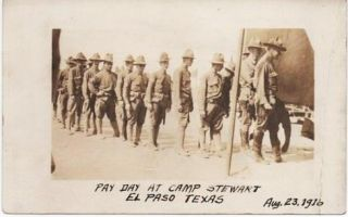 COMPANY G, 18TH PENNSYLVANIA INFANTRY: PAY DAY AT CAMP STEWART, EL PASO, TEXAS, AUG. 23, 1916....