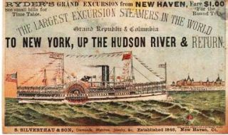 RYDER'S GRAND EXCURSION FROM NEW HAVEN...THE LARGEST EXCURSION STEAMERS IN THE WORLD...GRAND...