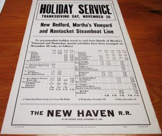 [broadside] HOLIDAY SERVICE - THANKSGIVING DAY, NOVEMBER 26 [1936] - NEW BEDFORD, MARTHA'S VINEYARD AND NANTUCKET STEAMBOAT LINE:; To accommodate holiday travel to and from Islands of Martha's Vineyard and Nantucket, special schedules have been arranged. Nantucket Massachusetts.
