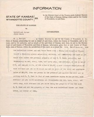 TYPEWRITTEN ARREST REPORT, STATE OF KANSAS VS. McCLELLAND FARMER AND JESSE OWNES, 16 DECEMBER 1920