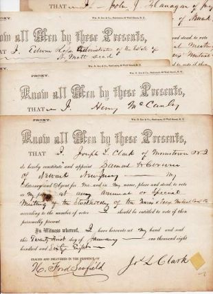 GROUP OF FIVE (5) PROXY VOTES, SIGNED BY VARIOUS SHAREHOLDERS IN THE COMPANY, JANUARY 1868