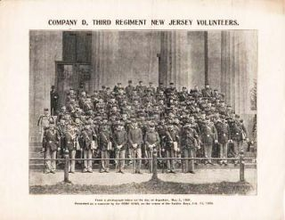 "COMPANY D, THIRD REGIMENT OF NEW JERSEY VOLUNTEERS [broadside view]:; From a photograph taken on the day of departure, May 2, 1898. Presented as a souvenir by the ""Home News,"" on the return of the Soldier Boys, Feb. 13, 1899."
