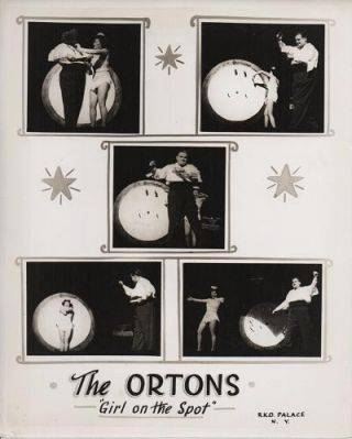 THE ORTONS--GIRL ON THE SPOT: Publicity poster for this husband & wife knife-throwing act. Tex Orton, Alice.