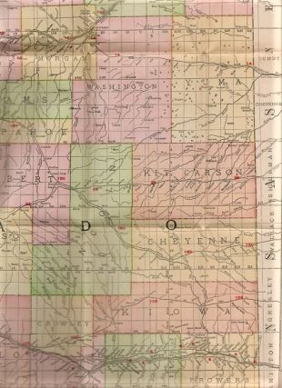 INDEXED COUNTY AND TOWNSHIP POCKET MAP AND SHIPPERS' GUIDE OF COLORADO: Showing all Railroads, Cities, Towns, Villages, Postoffices, Lakes, Rivers, etc. [cover title]; Corrected to date.