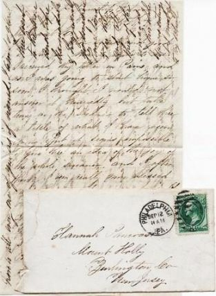 "1877 HANDWRITTEN LETTER (ALS) WRITTEN ABOARD THE STEAMSHIP ""BOLIVIA"" BY A QUAKER WOMAN RETURNING..."