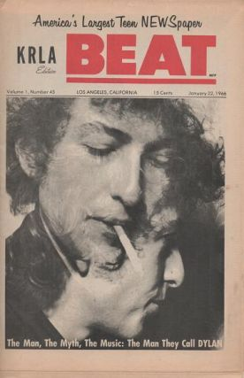 "THE MAN, THE MYTH, THE MUSIC: THE MAN THEY CALL DYLAN--; in KRLA Edition ""BEAT,"" Volume 1, Number 45, January 22, 1966. Bob Dylan."