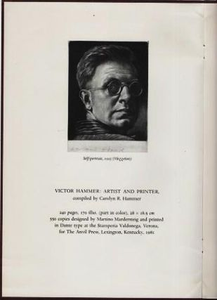 VICTOR HAMMER, ARTIST AND PRINTER [prospectus].; Compiled by Carolyn R. Hammer. Anvil Press