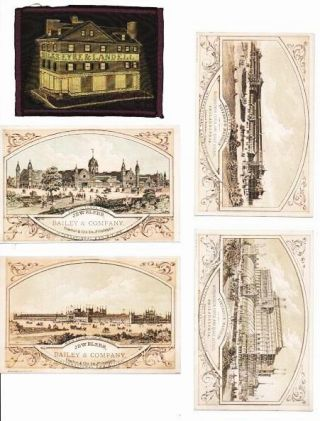 GROUP OF FOUR CARDS PRINTED IN COLORS, AND A STEVENGRAPH. Pennsylvania / Philadelphia Trade,...