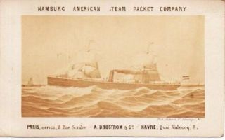 HAMBURG AMERICAN STEAM PACKET COMPANY [real-photo palm card]:; Paris, Office, 2 Rue Scribe - A. Brostrom & Co. - Havre, Quai Videcoq, 5. Hamburg-American Line.