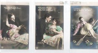 SUITE OF SIX (6) SILVER GELATIN, COLOR-EMBELLISHED POSTCARDS SHOWING COUPLES IN VARIOUS ROMANTIC...