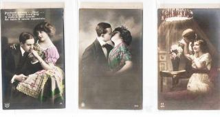 SUITE OF SIX (6) SILVER GELATIN, COLOR-EMBELLISHED POSTCARDS SHOWING COUPLES IN VARIOUS ROMANTIC POSES