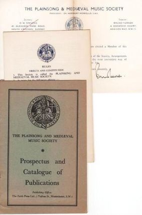 PROSPECTUS AND CATALOGUE OF PUBLICATIONS [with three ephemeral items]. Plainsong, Medieval Music Society.