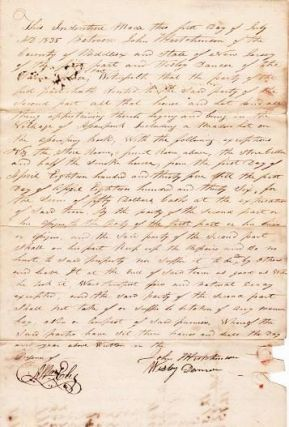 HANDWRITTEN INDENTURE BETWEEN JOHN HUTCHINSON AND WESLEY DANSER, BOTH OF MIDDLESEX COUNTY, NEW JERSEY, DATED 1 JULY 1835. Monmouth County / Hutchinson New Jersey, John.