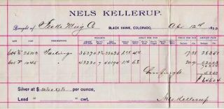SILVER ORE RECEIPT ON THE BILLHEAD OF NELS KELLERUP--BLACK HAWK, COLORADO, APRIL 12, 1892. Black Hawk Colorado.