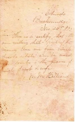 1892 HANDWRITTEN LETTER (ALS) OF PERMISSION FROM BRECKENRIDGE, COLORADO. M. M. Hilliard