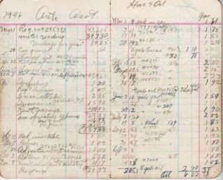 HANDWRITTEN, POCKET ACCOUNT BOOK OF AUTOMOBILE EXPENSES, ALONG WITH NOTES ON HOUSEHOLD EXPENDITURES AND GARDENING, 1946-1949, KEPT BY A MASSACHUSETTS MAN:; with a few notes dated 1950-1952 and house repairs dated 1951-1957. Anonymous.