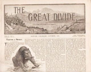 """THE GREAT DIVIDE,"" Vol. IV, No. 2, October, 1890. Colorado."