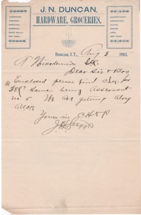 1903-1907 GROUP OF NINE (9) HANDWRITTEN LETTERS AND RECEIPTS ON LETTERHEADS AND BILLHEADS FROM VARIOUS INDIAN TERRITORY SETTLEMENTS.