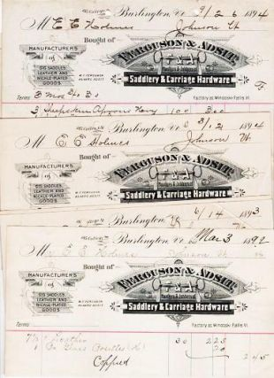 LOTS OF FOURTEEN (14) RECEIPTS ON THE ENGRAVED BILLHEADS OF THESE MANUFACTURERS & JOBBERS OF SADDLERY & CARRIAGE HARDWARE. W. F. Ferguson, Alvard Adsit.