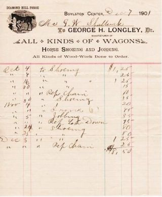 RECEIPT ON THE BILLHEAD OF DIAMOND HILL FORGE, MANUFACTURERS OF ALL KINDS OF WAGONS, HORSE...