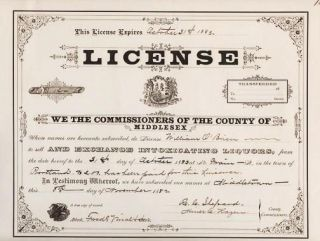 "TAVERN LICENSE - ISSUED BY THE COMMISSIONERS OF MIDDLESEX COUNTY ""TO SELL AND EXCHANGE..."