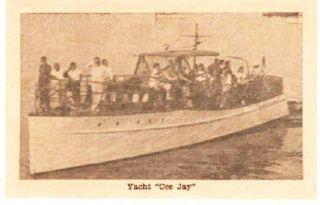 "YACHT ""CEE JAY"" BUSINESS CARD. Provincetown Massachusetts."