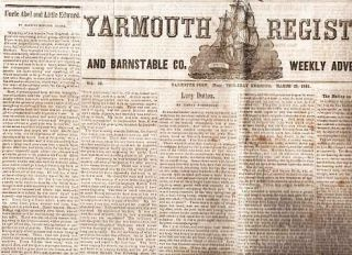 YARMOUTH REGISTER AND BARNSTABLE CO. WEEKLY ADVERTISER, Vol IX, No. 14, March 20, 1845. Yarmouthport Massachusetts.