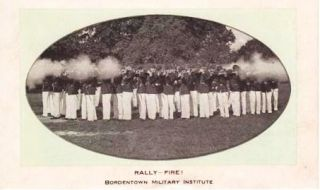 RALLY--FIRE! BORDENTOWN MILITARY INSTITUTE: Unused blotter with real-photo illustration on...